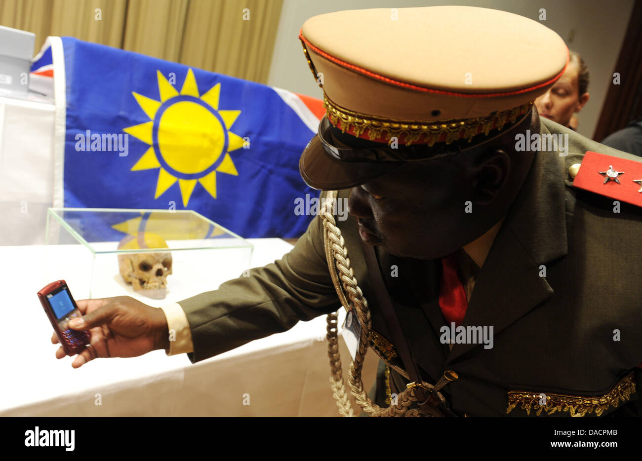 A member of the victims' organization 'Ovaherero/Ovambanderu - Coucil for Dialogue about the Genocide of - Stock Image