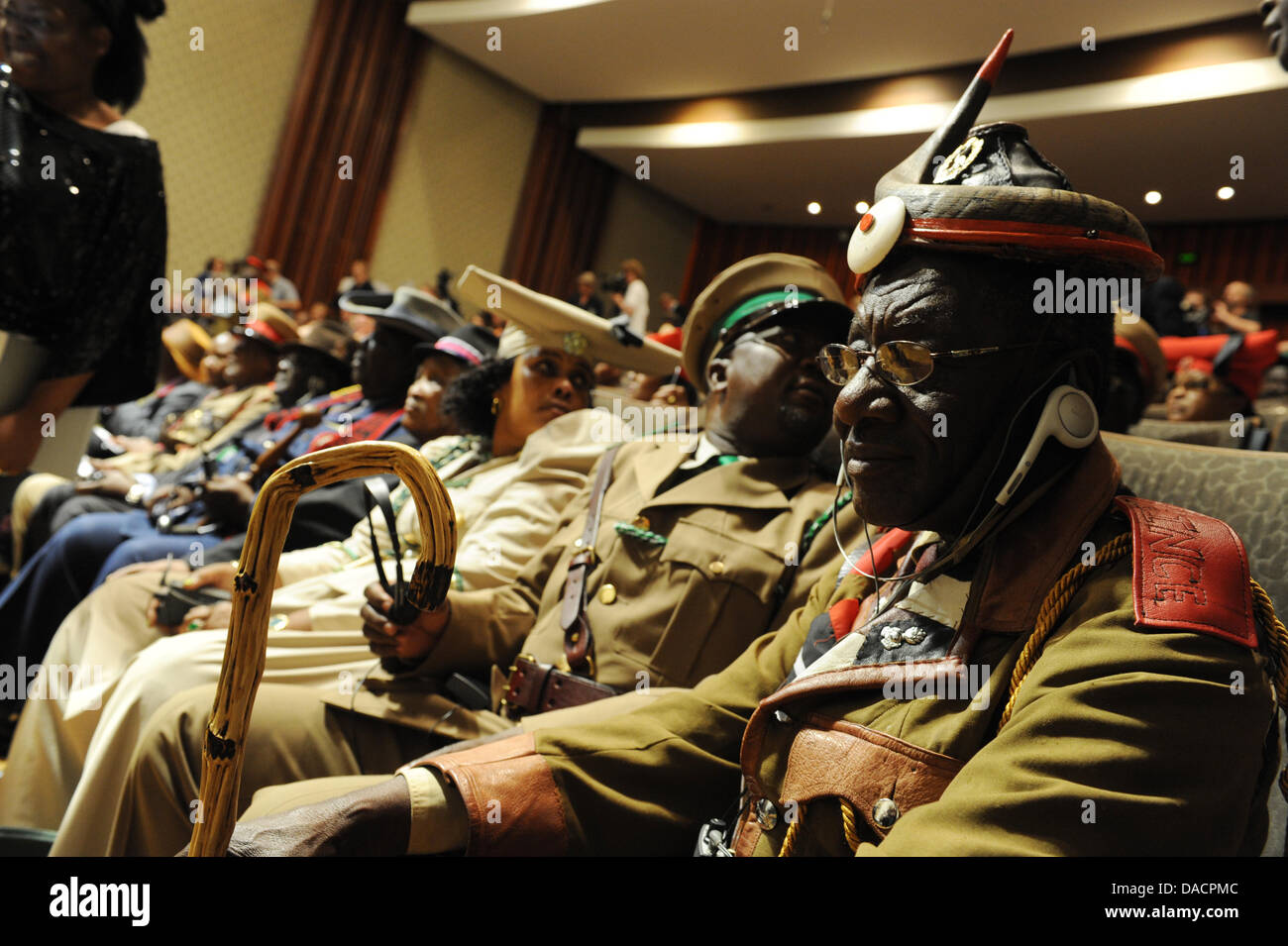Members of the victims' organization 'Ovaherero/Ovambanderu - Coucil for Dialogue about the Genocide of - Stock Image