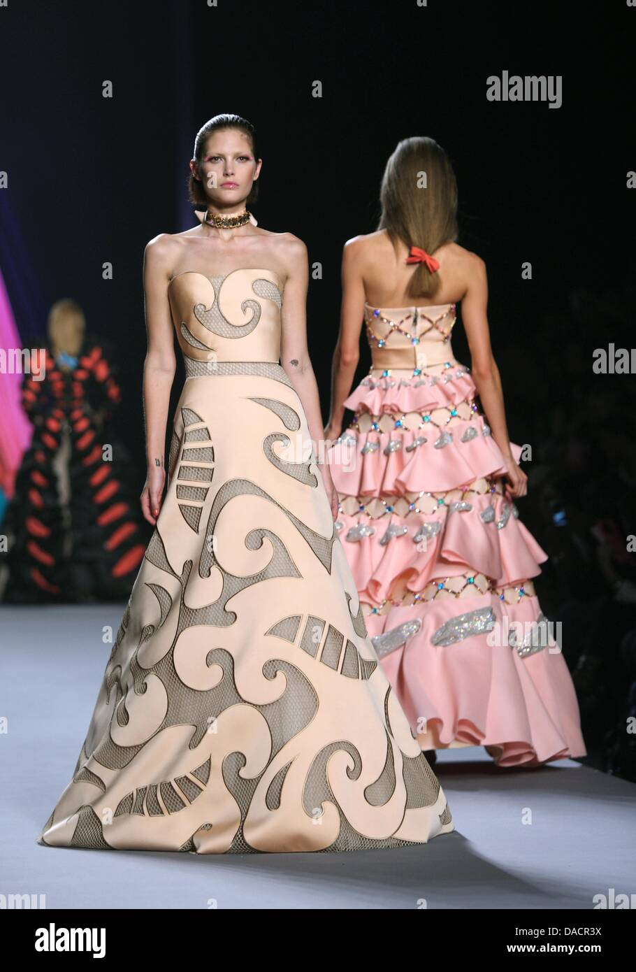 Models Wear Creations By Dutch Designers Viktor Rolf As Part Of The Stock Photo Alamy