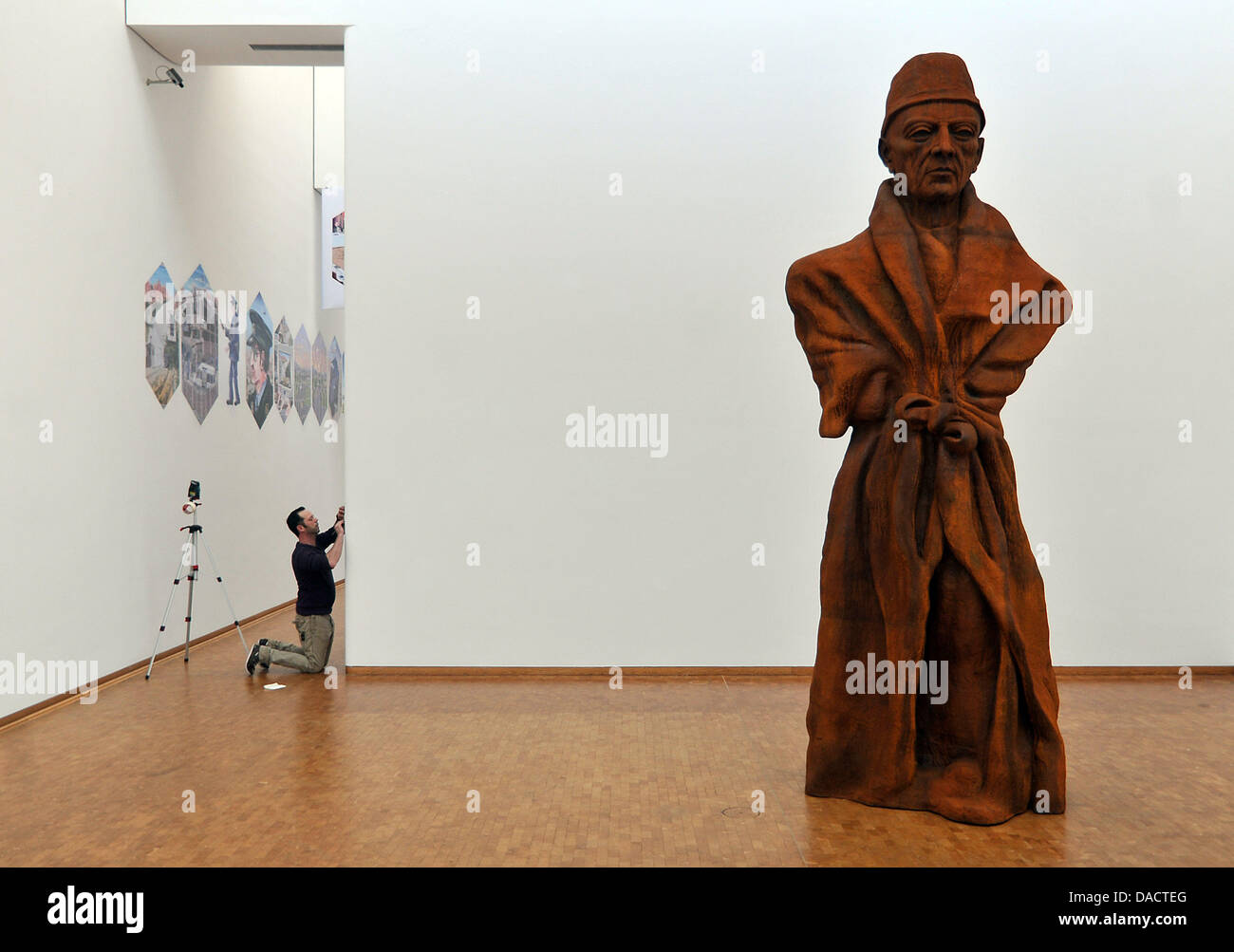 The sculpture 'The State' (Vater Staat) of Thomas Schuette is presented at the exhibition 'In the eyes - Stock Image