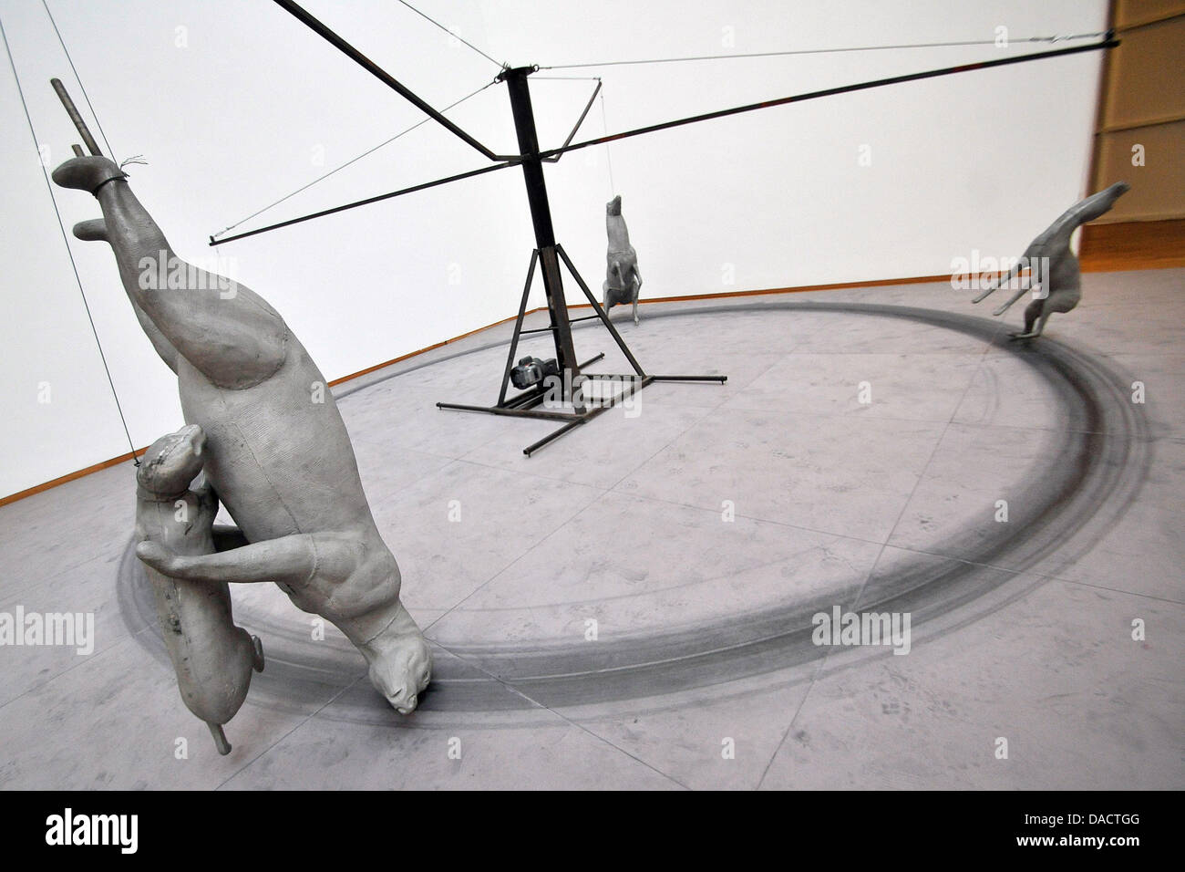 the sculpture carousel 1988 of bruce nauman is presented at the