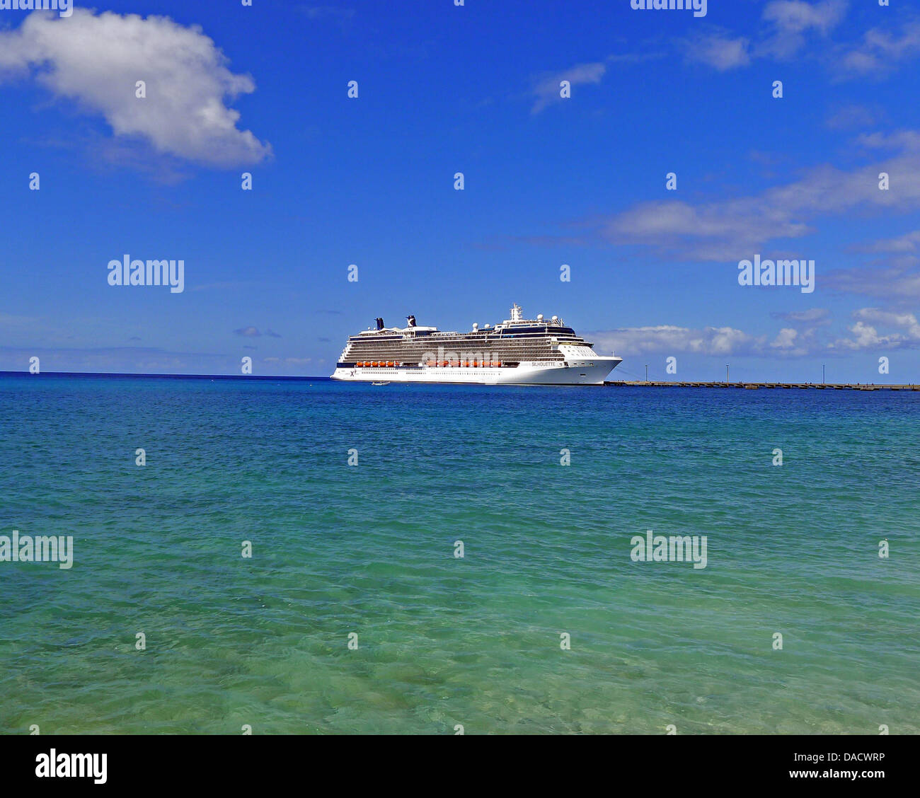 The Celebrity Silhouette, the fourth of five Solstice-class cruise ships operated by Celebrity Cruises, a subsidiary - Stock Image