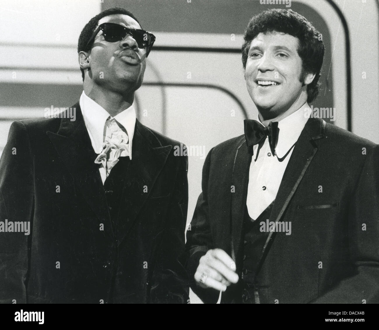 STEVIE WONDER  at left with Tom Jones on the 'This Is Tom Jones' TV series about 1970 - Stock Image