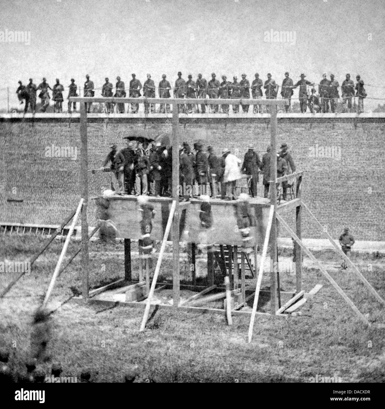 ABRAHAM LINCOLN  Execution of accomplices in his murder at Fort McNair, Washington D.C. 7 July 1865. See Description - Stock Image