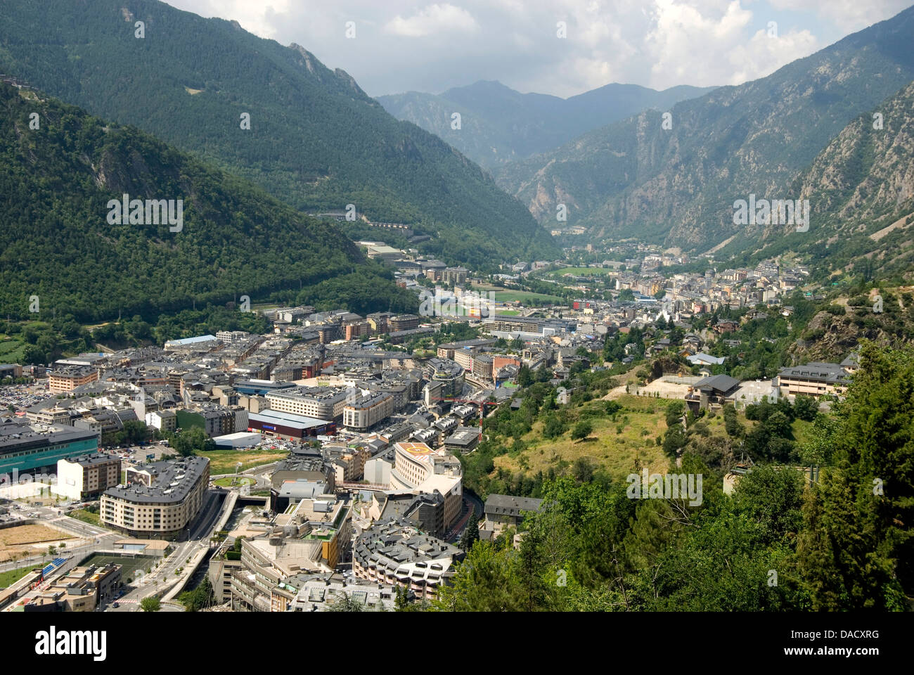 Andorra la Vella, capital city of Andorra state - Stock Image