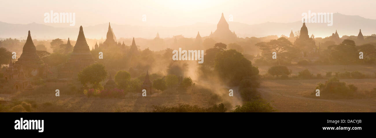 Panoramic view at sunset over the plain and temples of Bagan from Shwesandaw Paya, Bagan Central Plain, Myanmar Stock Photo