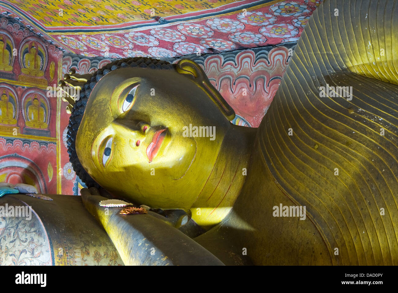 Asia, Sri Lanka, Central Province , Dambulla,Golden Temple of Dambulla, Cave no. 4 - Stock Image