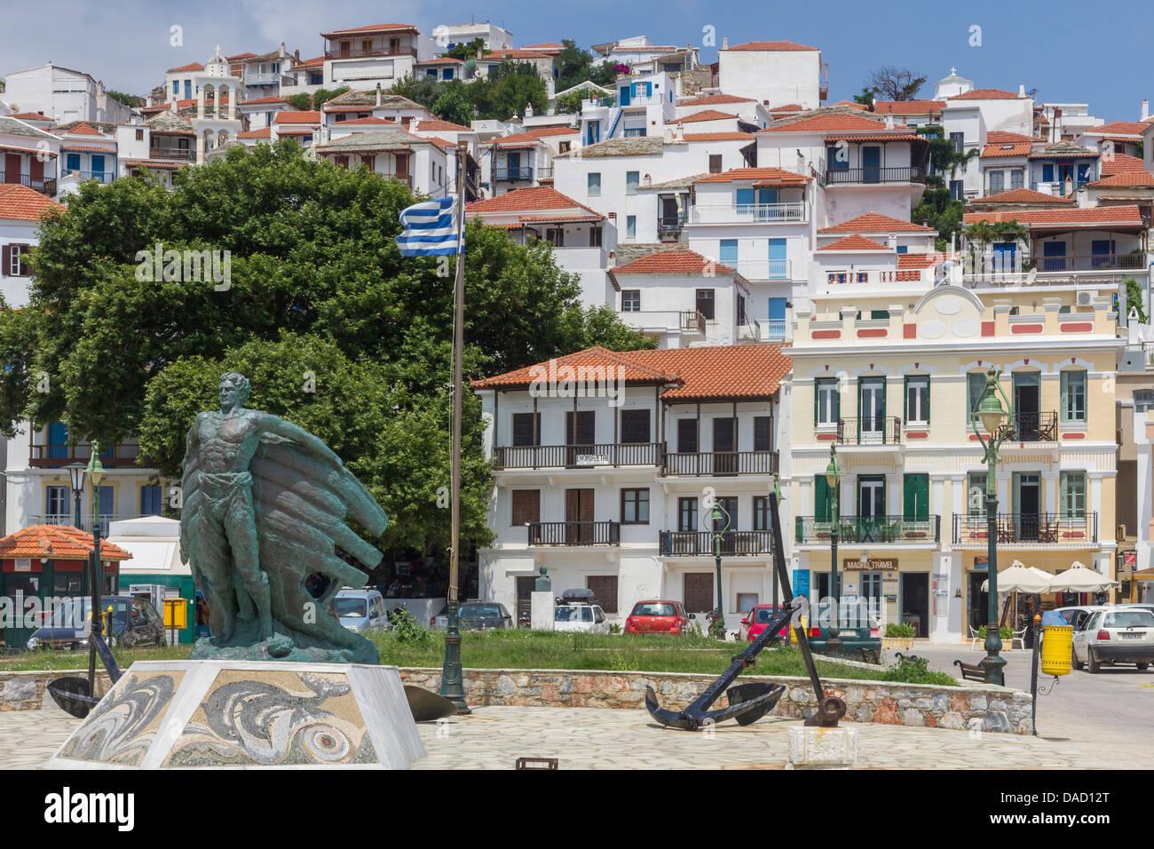 Greece Sporades, Skopelos, harbour front - Stock Image