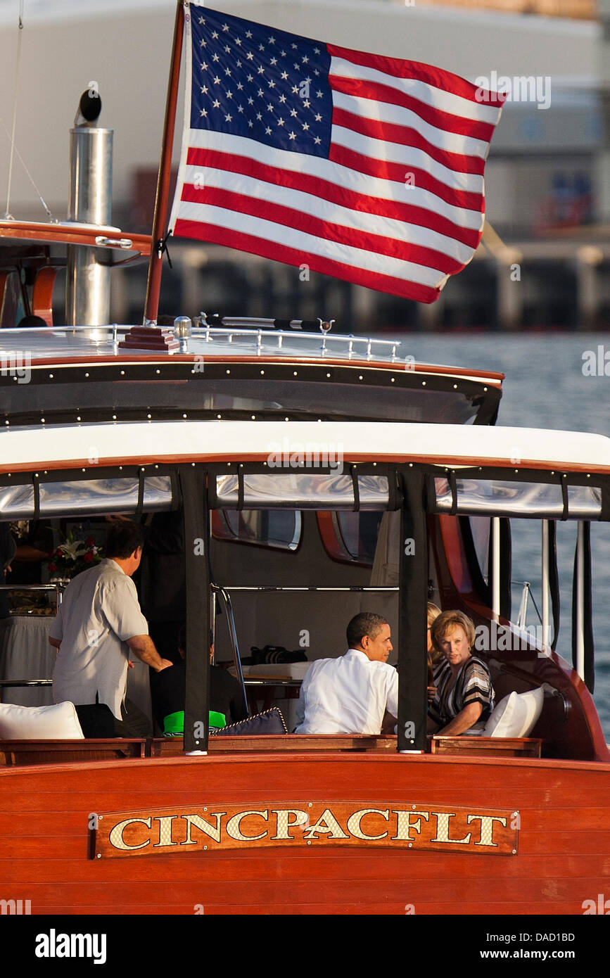 United States President Barack Obama  and Donna WIllard are seen in the aft section of the Commander in Chief Pacific Stock Photo