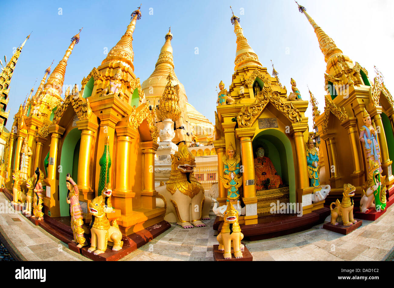 Fisheye image of shrines at Shwedagon Paya (Pagoda), Yangon (Rangoon), Myanmar (Burma), Asia - Stock Image