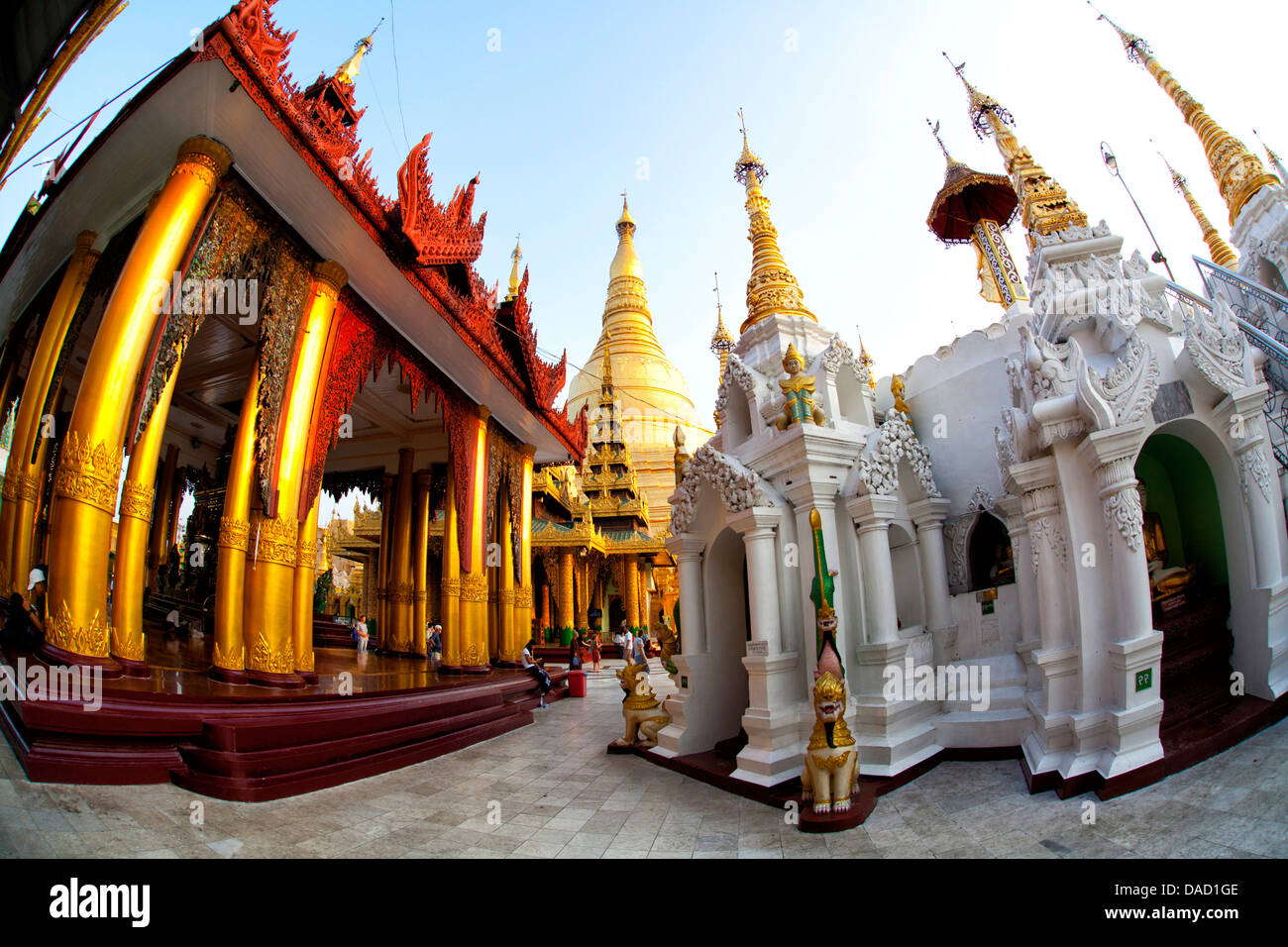Fisheye image of temples and shrines at Shwedagon Paya (Pagoda), Yangon (Rangoon), Myanmar (Burma), Asia - Stock Image