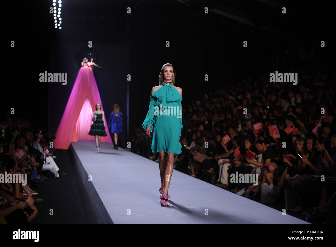 A Model Wears A Creation By Dutch Designers Viktor Rolf As Part Of Stock Photo Alamy