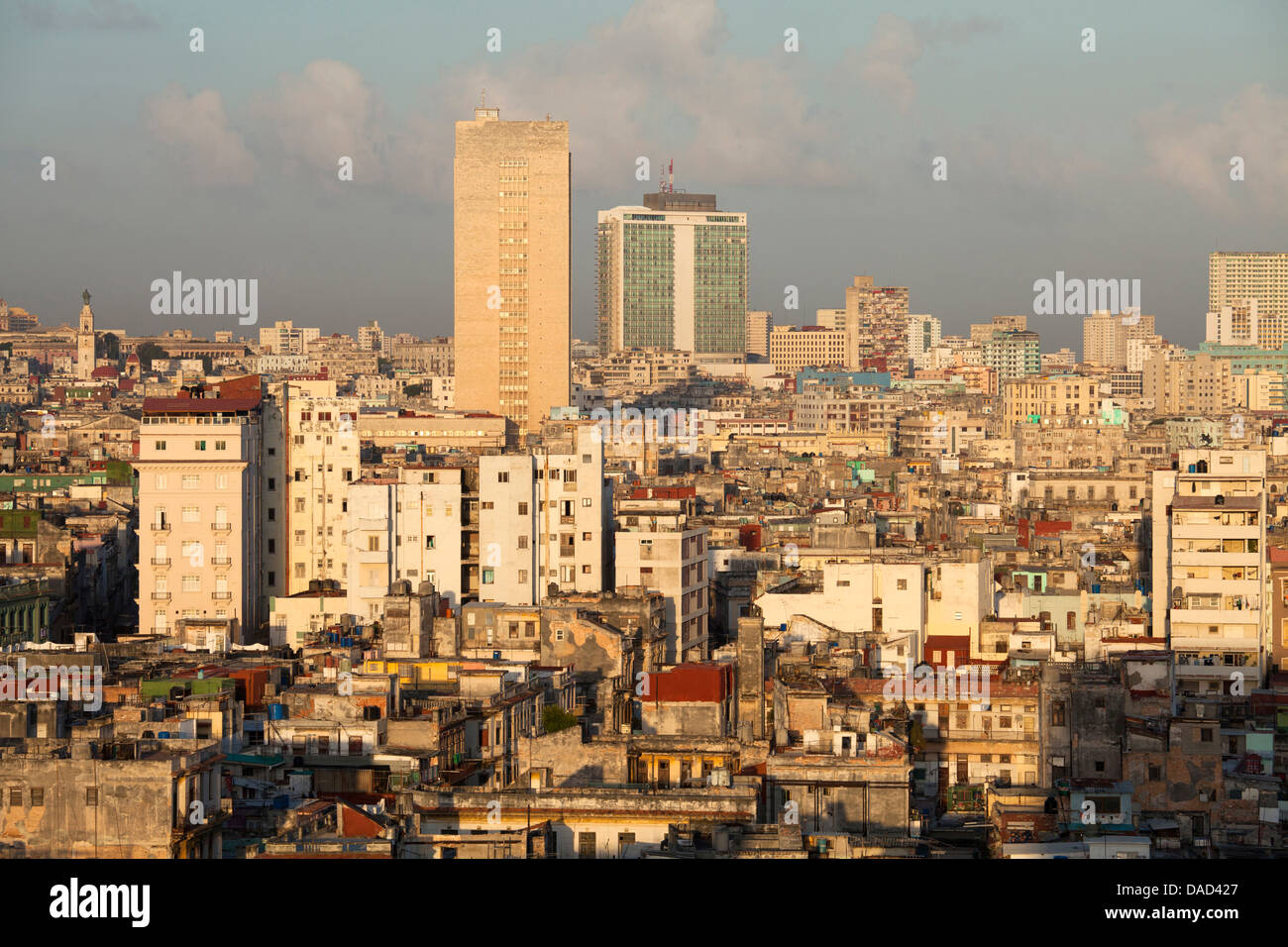 View over Havana Centro showing the city's dilapidated buildings, from the restaurant of Hotel Seville, Havana - Stock Image