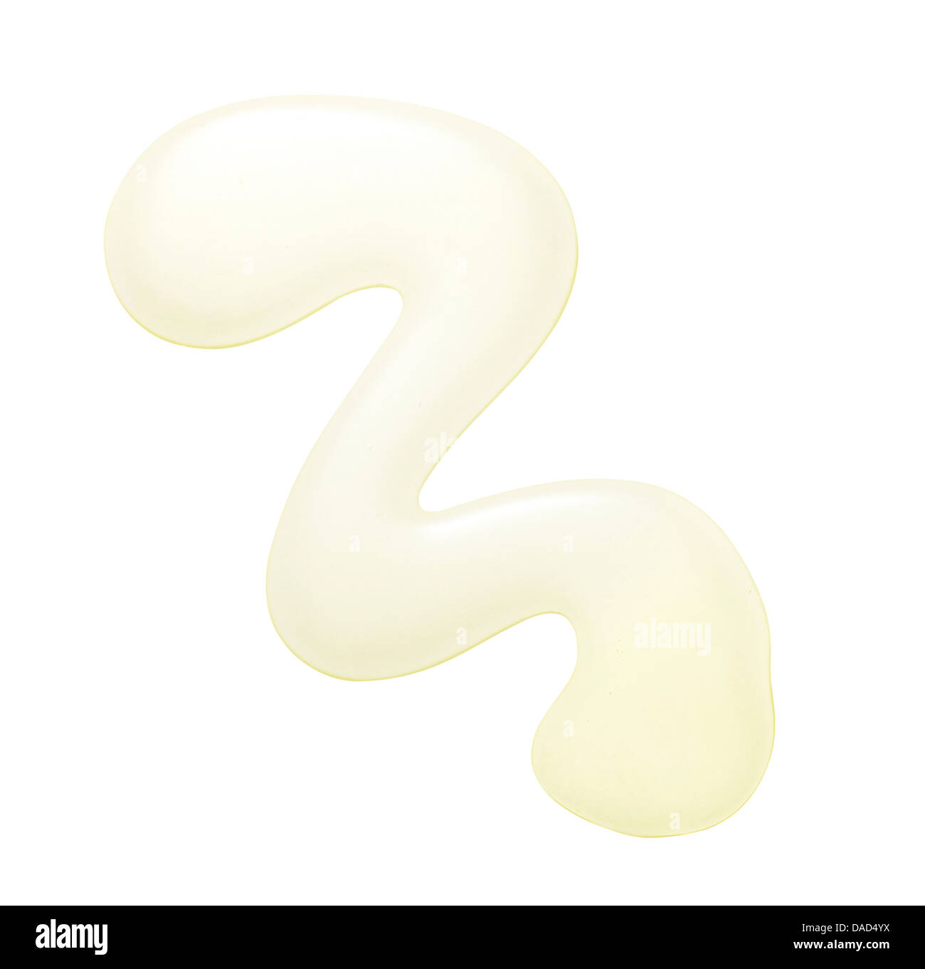 beige yellow beauty cream cut out onto a white background - Stock Image