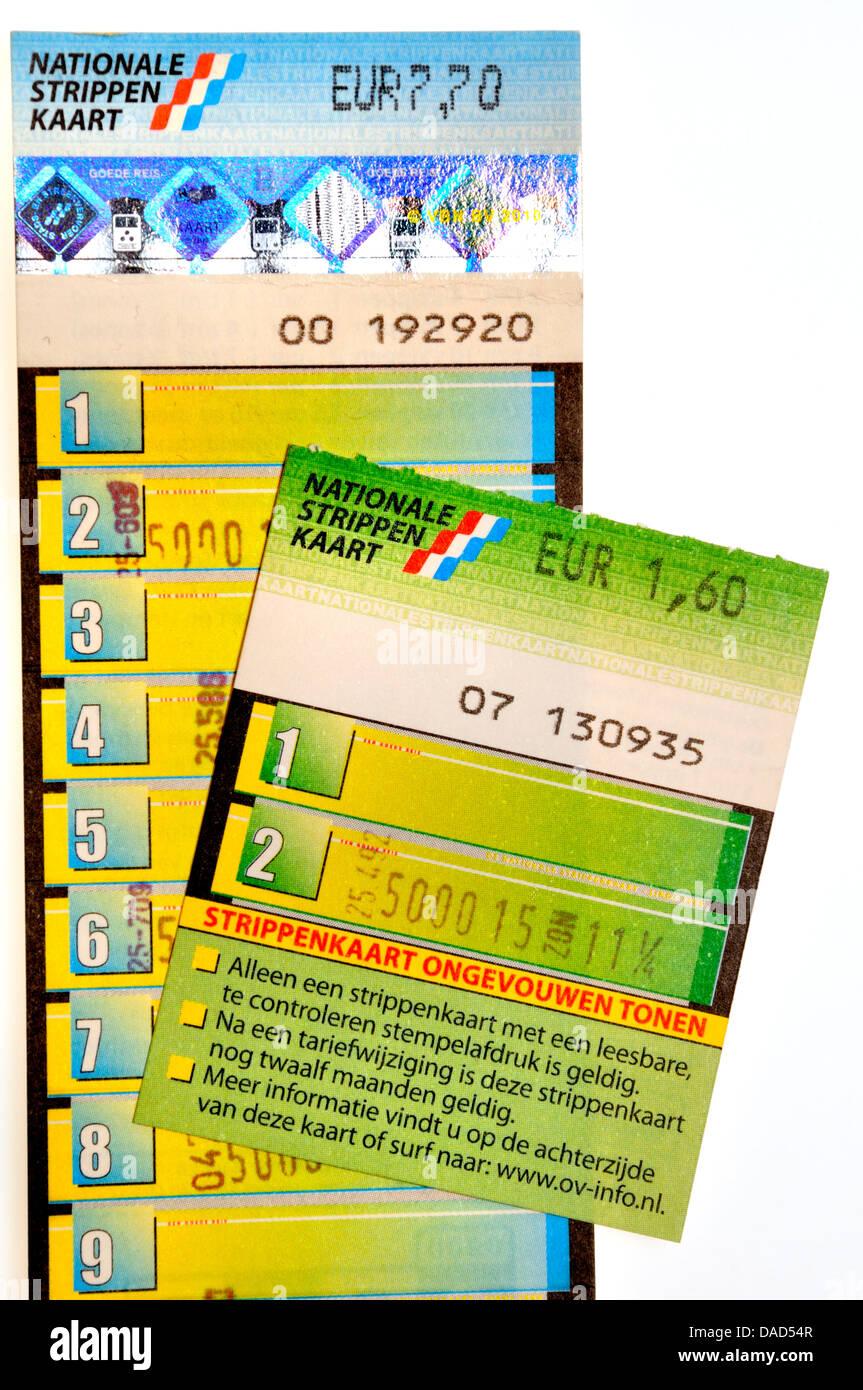 Dutch National Strippenkaart - multi journey public transport ticket - Stock Image