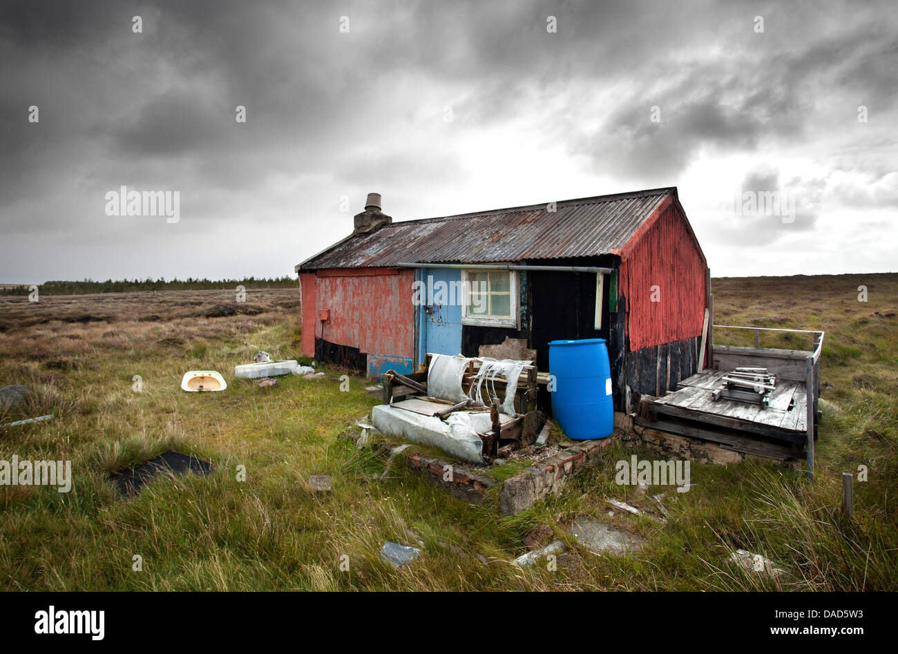 Shieling, a building once used by farmers while grazing their livestock, near Carloway, Isle of Lewis, Outer Hebrides, Stock Photo