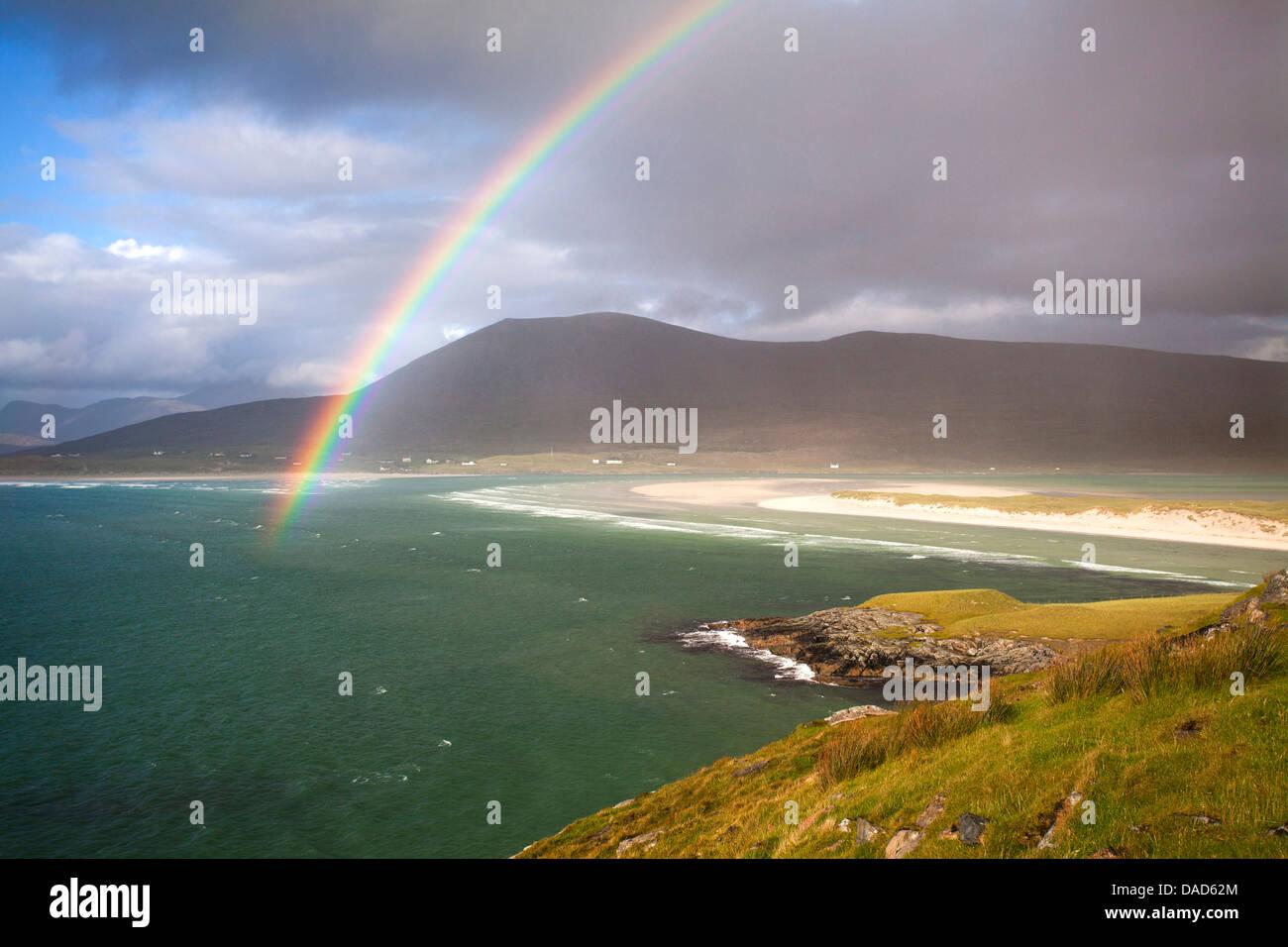View across the beach at Seilebost towards Luskentyre, Seilebost, Isle of Harris, Outer Hebrides, Scotland, UK - Stock Image