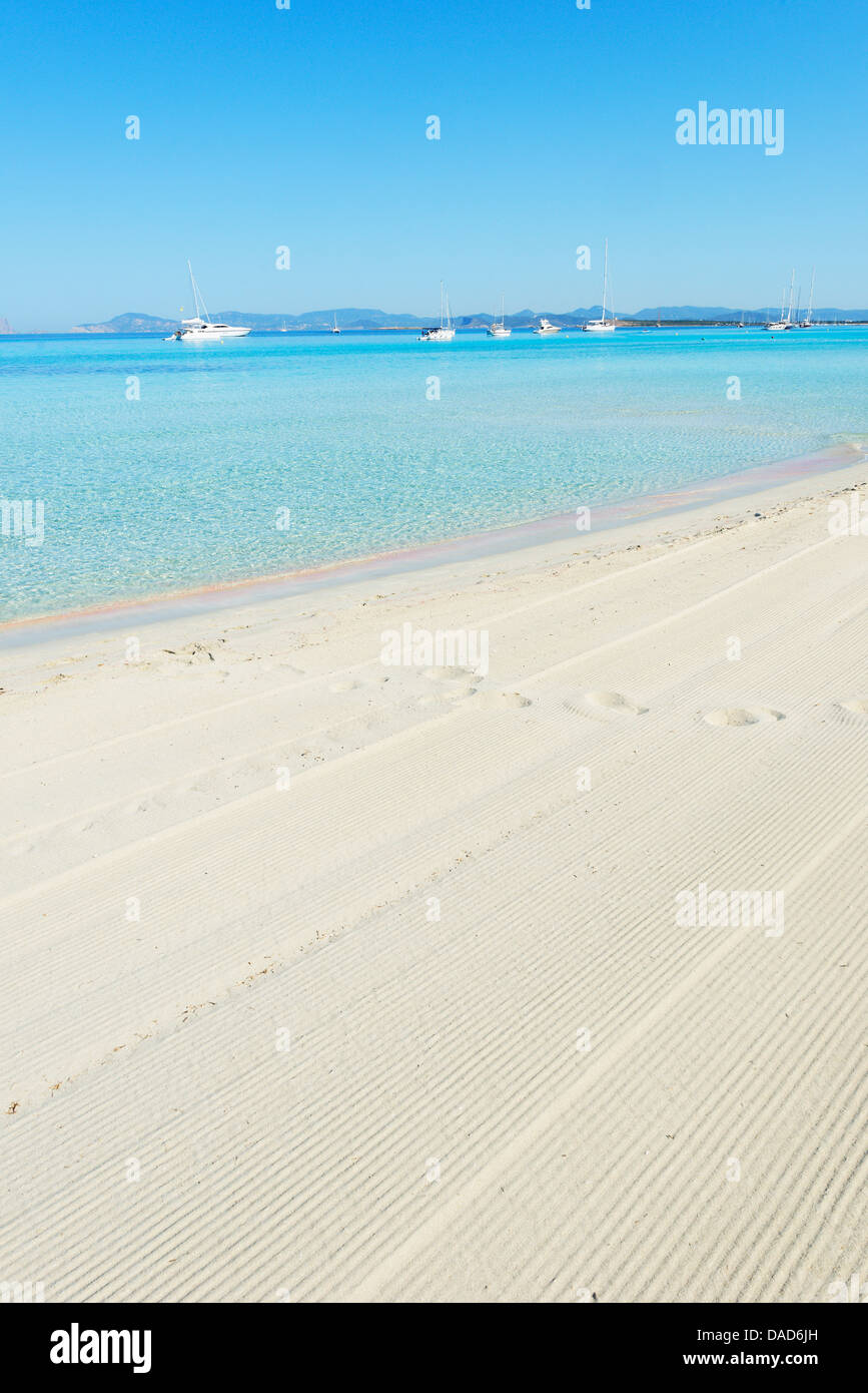Ses Illetes beach, Formentera, Balearic Islands, Spain, Mediterranean, Europe - Stock Image