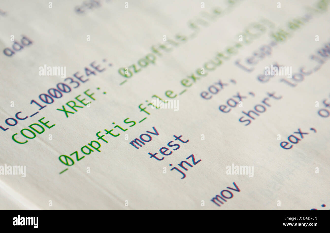 Parts of a computer code of a spy software, which has been printed on several pages of the 'Frankfurter Allgemeine' - Stock Image