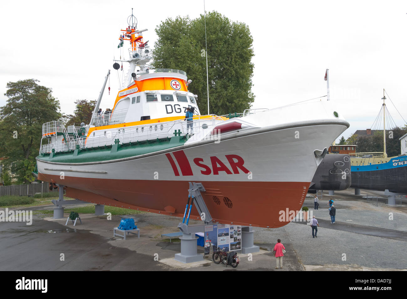 The rescue vessel 'John T. Essberger' is seen at the Museum of Technology in Speyer, Germany, 05 October - Stock Image