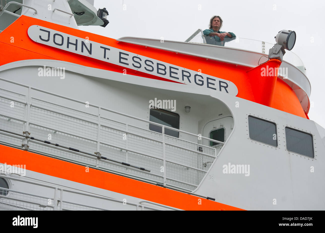 A crew member stands at the navigation bridge of the rescue vessel 'John T. Essberger' at the Museum of - Stock Image