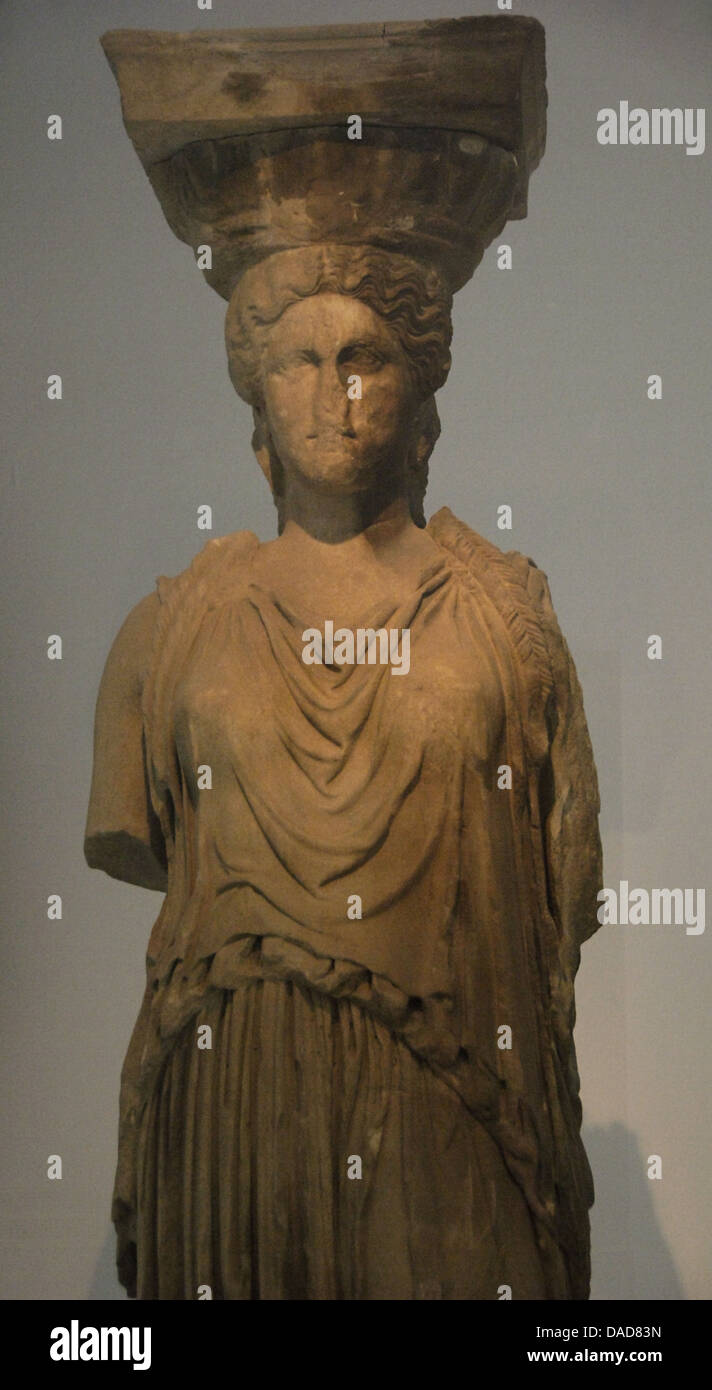 Caryatid from the Erechtheion, standing in contrapposto, displayed at the Acropolis Museum. 421-407 BC. Athens. - Stock Image