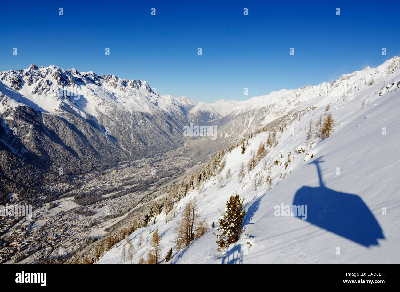 View from Aiguille du Midi cable car, Chamonix, Haute-Savoie, French Alps, France, Europe - Stock Image