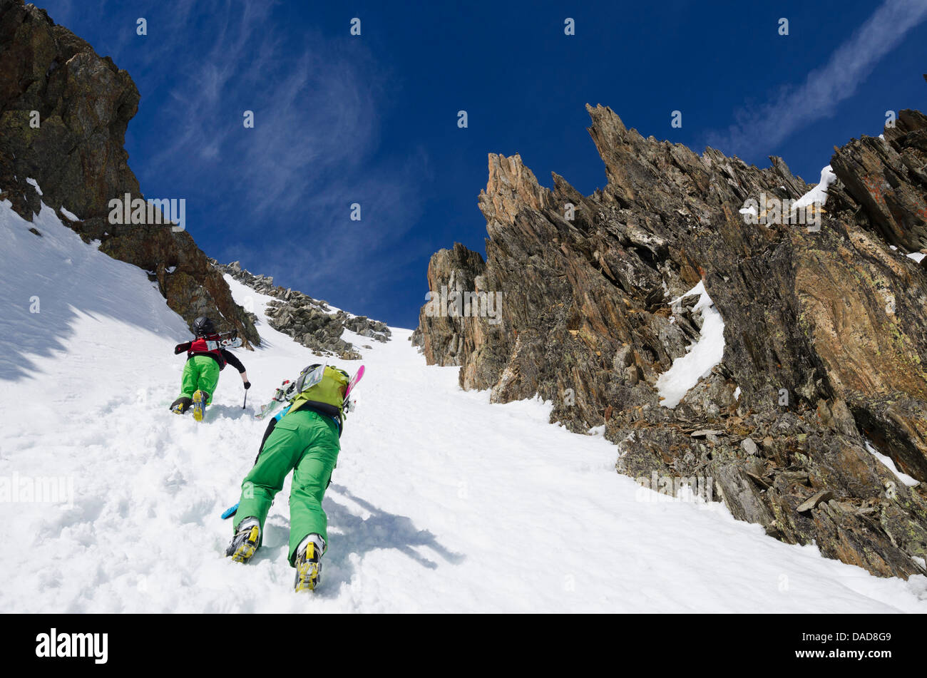 Col du Passon off piste ski touring area, Chamonix Valley, Haute-Savoie, French Alps, France, Europe - Stock Image
