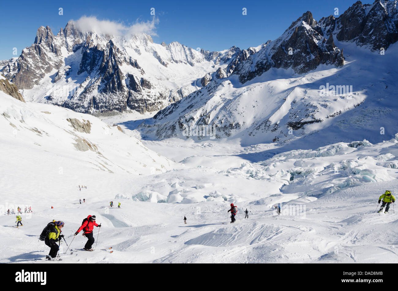 Vallee Blanche off piste ski area, Chamonix, Haute-Savoie, French Alps, France, Europe - Stock Image