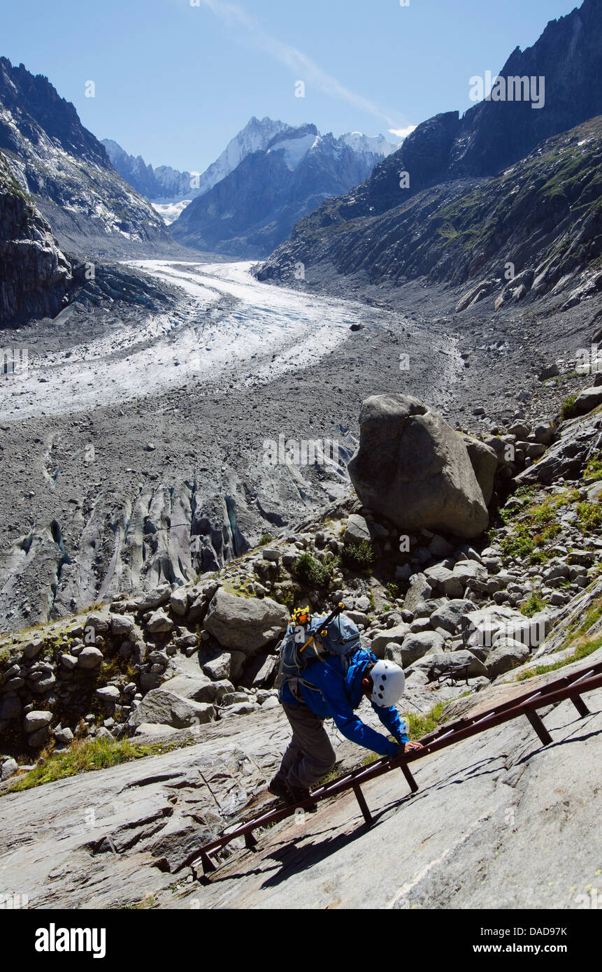 Climber at Mer de Glace glacier, Chamonix, Haute-Savoie, French Alps, France, Europe - Stock Image
