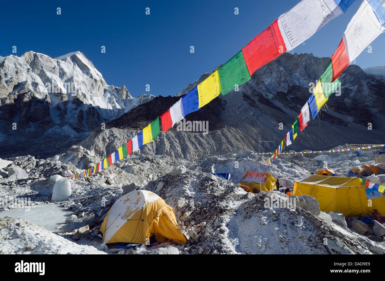 Prayer flags at Everest Base Camp, Solu Khumbu Everest Region, Sagarmatha National Park, UNESCO Site, Nepal - Stock Image