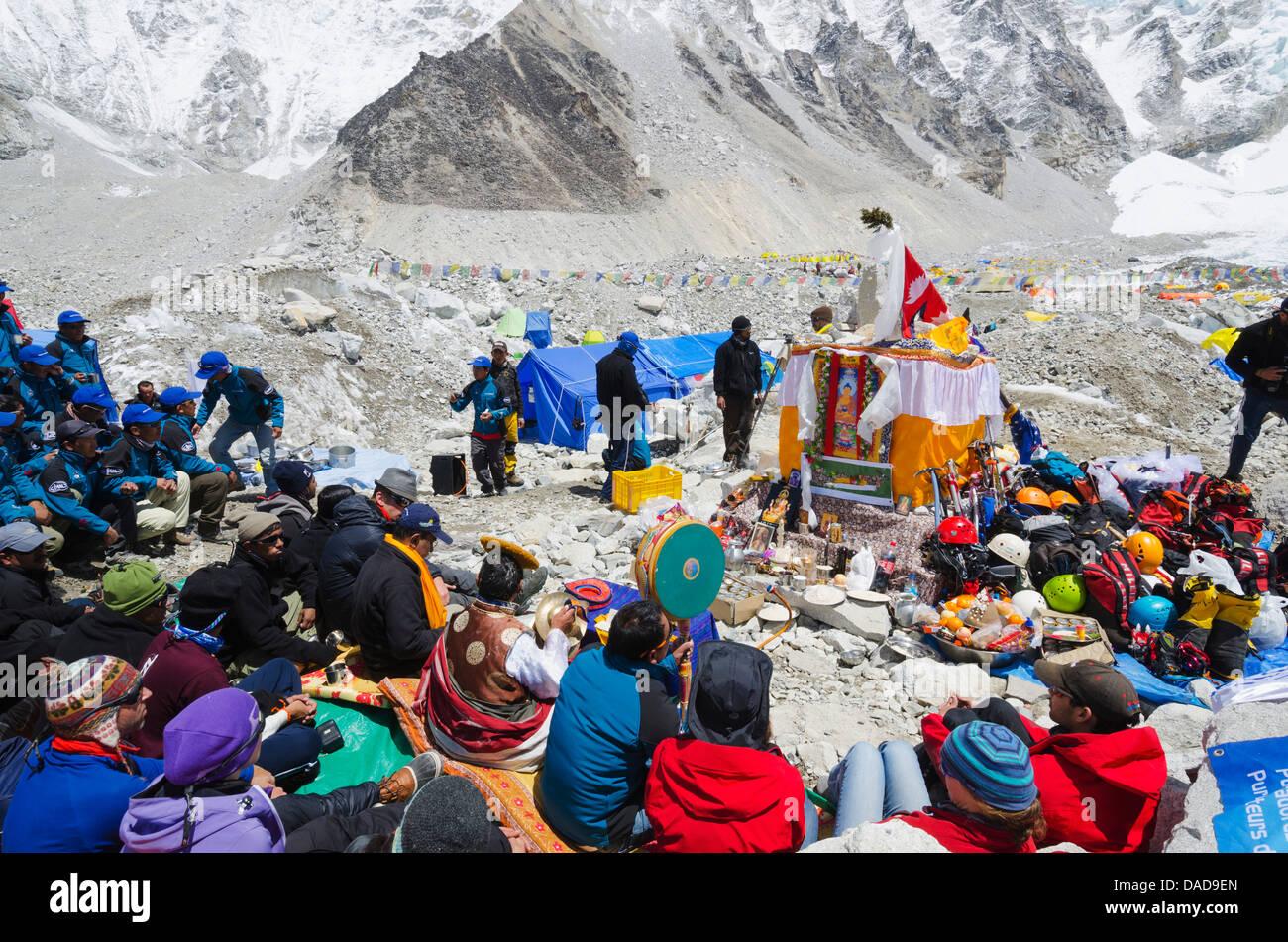 Puja ceremony, Everest Base Camp, Solu Khumbu Everest Region, Sagarmatha National Park, UNESCO Site, Nepal - Stock Image