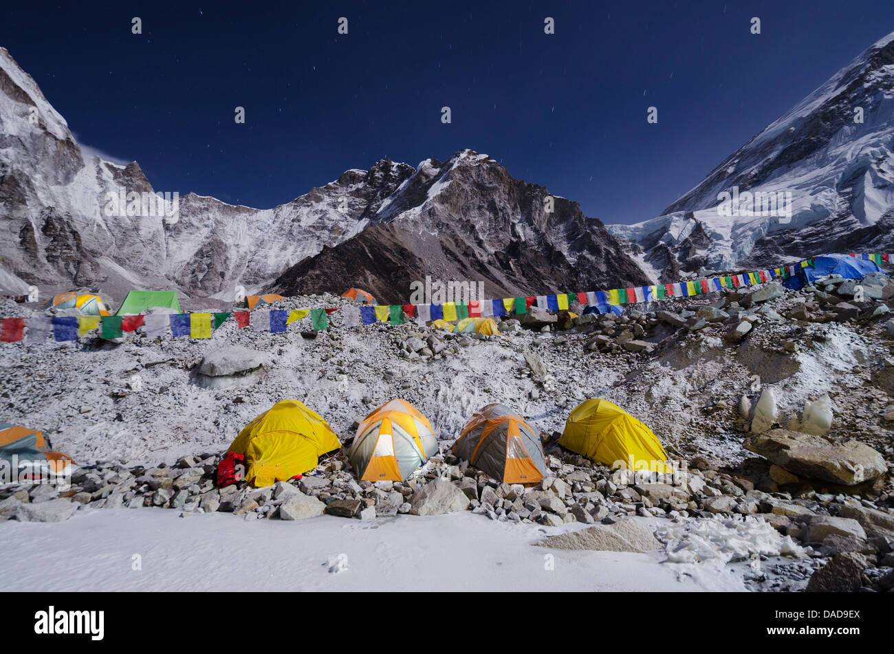 Tents at Everest Base Camp, Solu Khumbu Everest Region, Sagarmatha National Park, UNESCO World Heritage Site, Nepal, - Stock Image