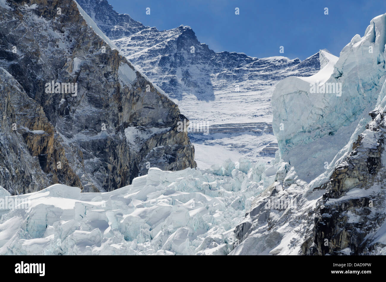 The Khumbu icefall on Mount Everest, Solu Khumbu Everest Region, Sagarmatha National Park, UNESCO Site, Nepal - Stock Image