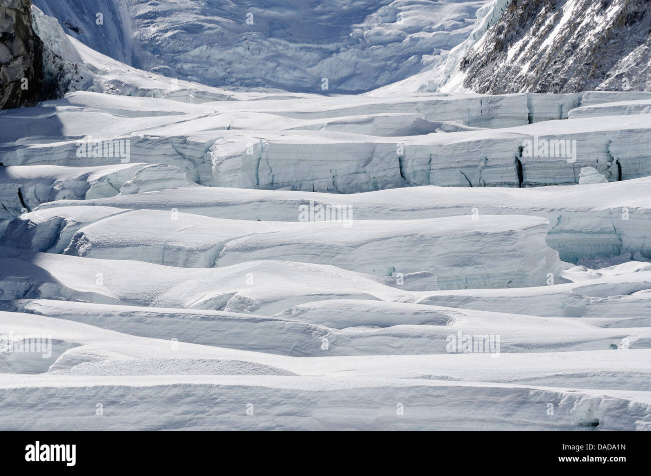Crevasses on Mount Everest, Solu Khumbu Everest Region, Sagarmatha National Park, UNESCO World Heritage Site, Nepal, - Stock Image