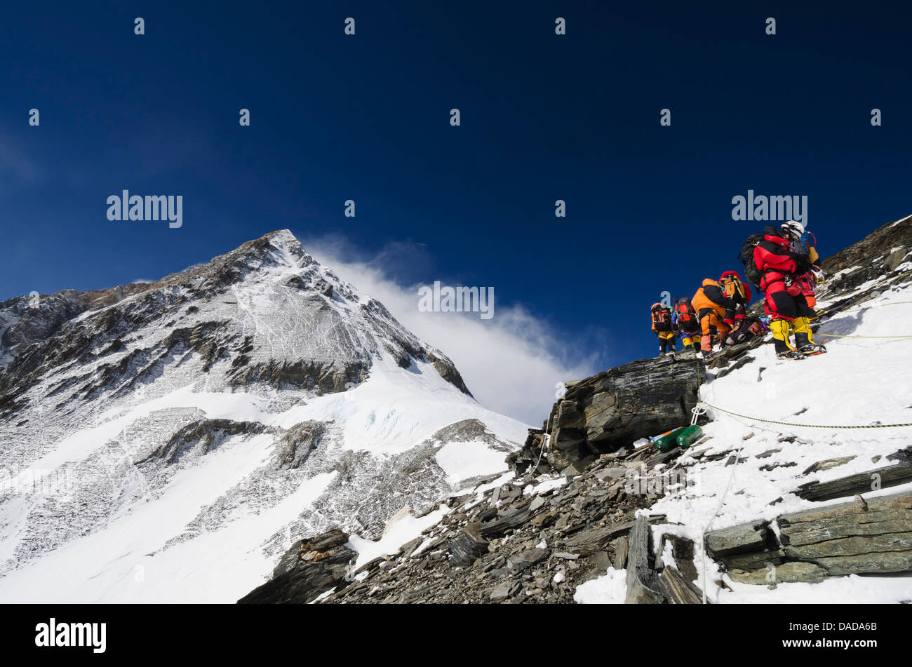 Climbers on the Geneva Spur, Solu Khumbu Everest Region, Sagarmatha National Park, UNESCO World Heritage Site, Nepal, - Stock Image
