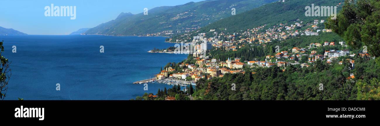 Kvarner Gulf and seaside resort Opatija, Croatia, Istria, Opatija - Stock Image