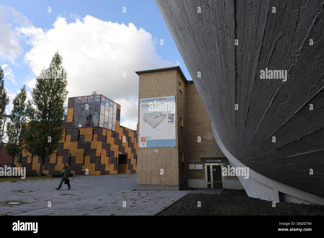 The large windtunnel (R) is seen at the Aerodynamic Park on the campus of Humboldt University in Berlin-Adlershof - Stock Image