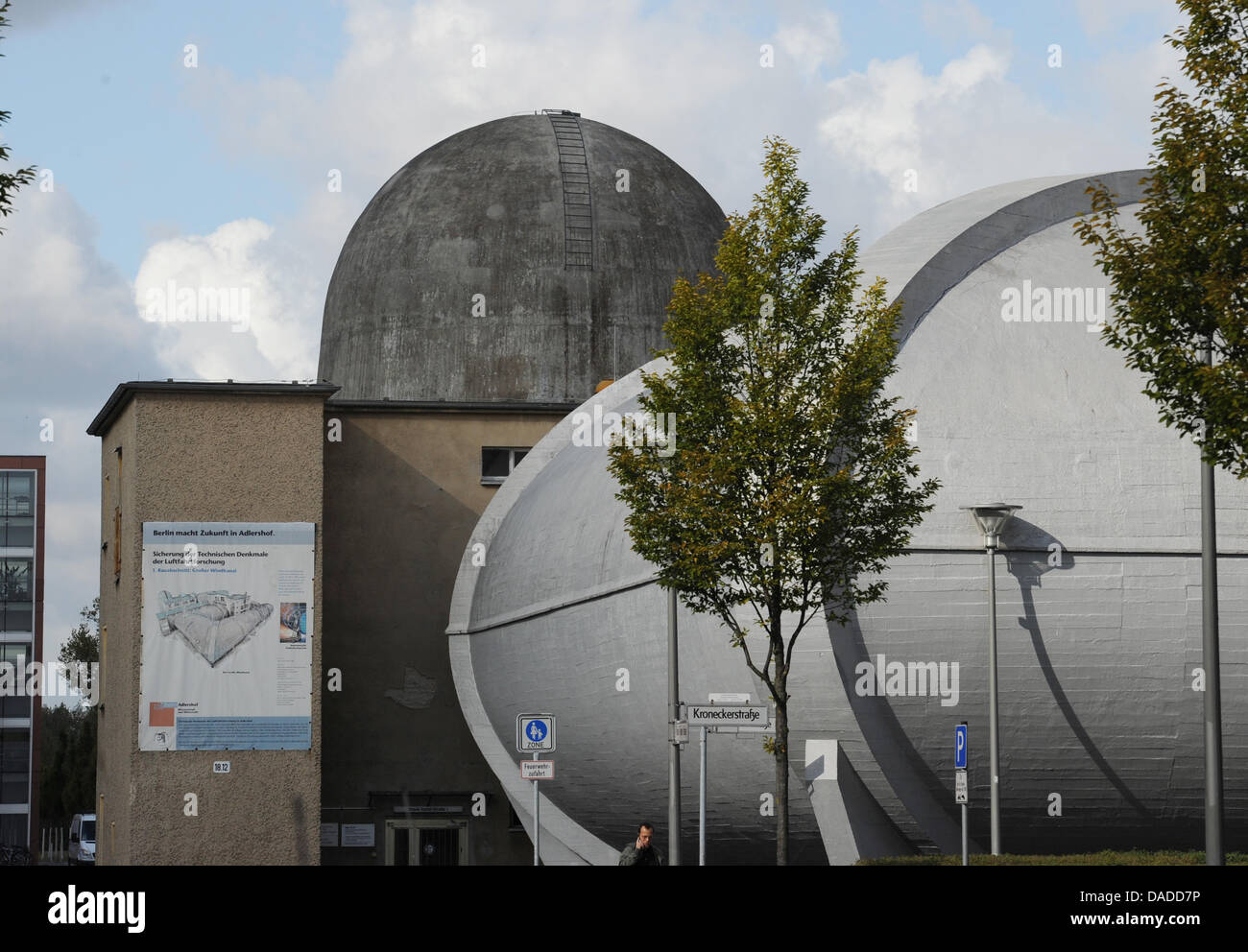 The large windtunnel is seen at the Aerodynamic Park on the campus of Humboldt University in Berlin-Adlershof in - Stock Image