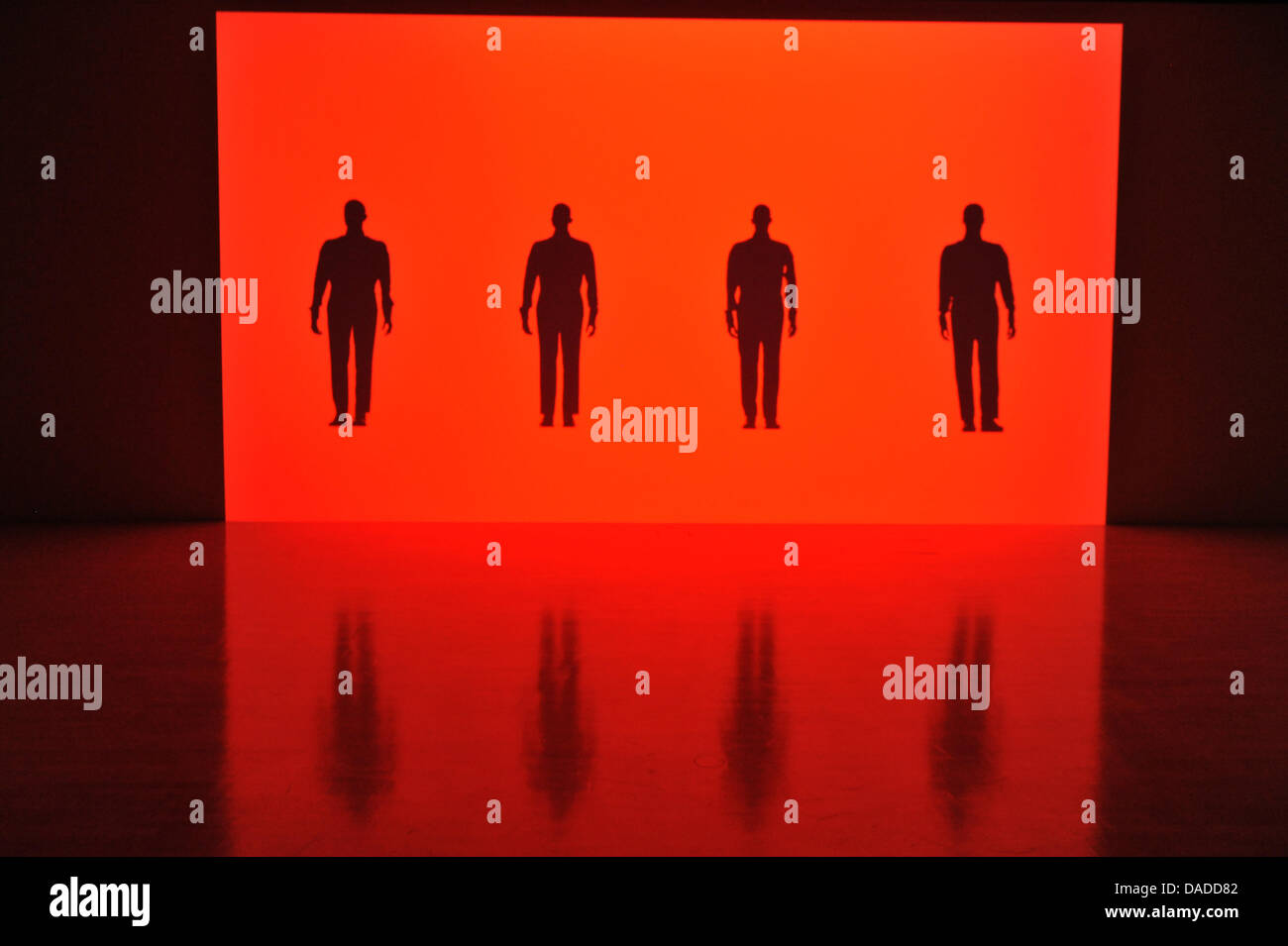 A 3D video installation, in which the musicians from the band Kraftwerk are portrayed, is seen during the video Stock Photo