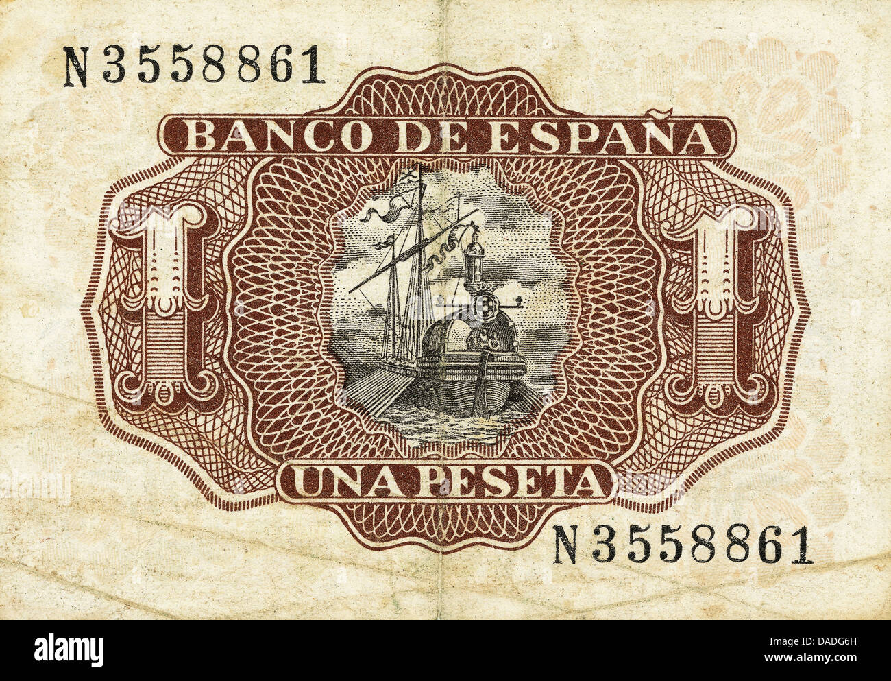 Bill of a one peseta of 1953. Reverse. Spain. - Stock Image