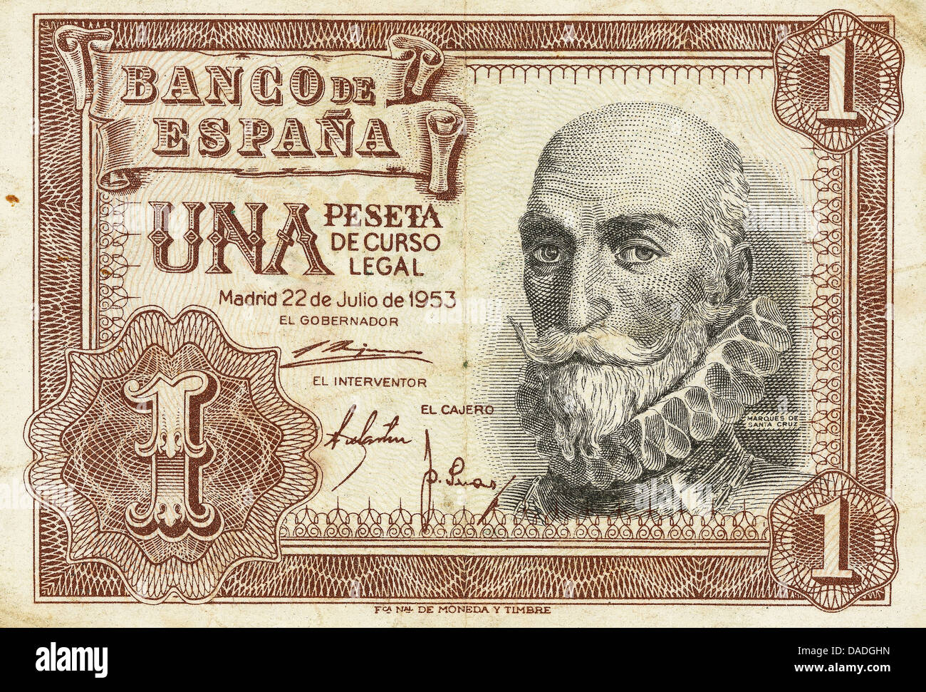 Bill of a one peseta of 1953. Obverse. Spain. - Stock Image