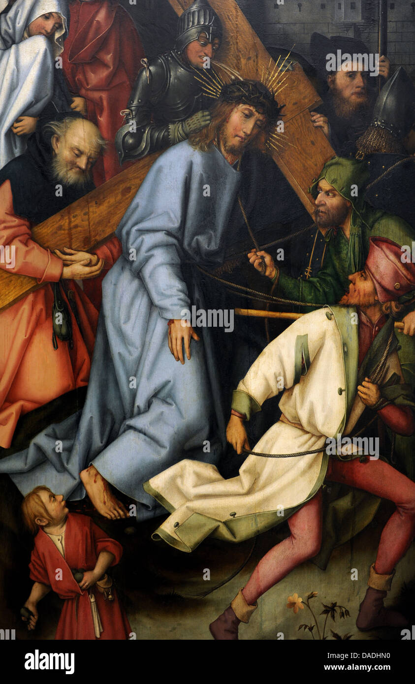 Hans Holbein the Elder (1465-1524). German painter. Christ carrying the Cross, 1502. Detail of a wing of Kaisheim - Stock Image