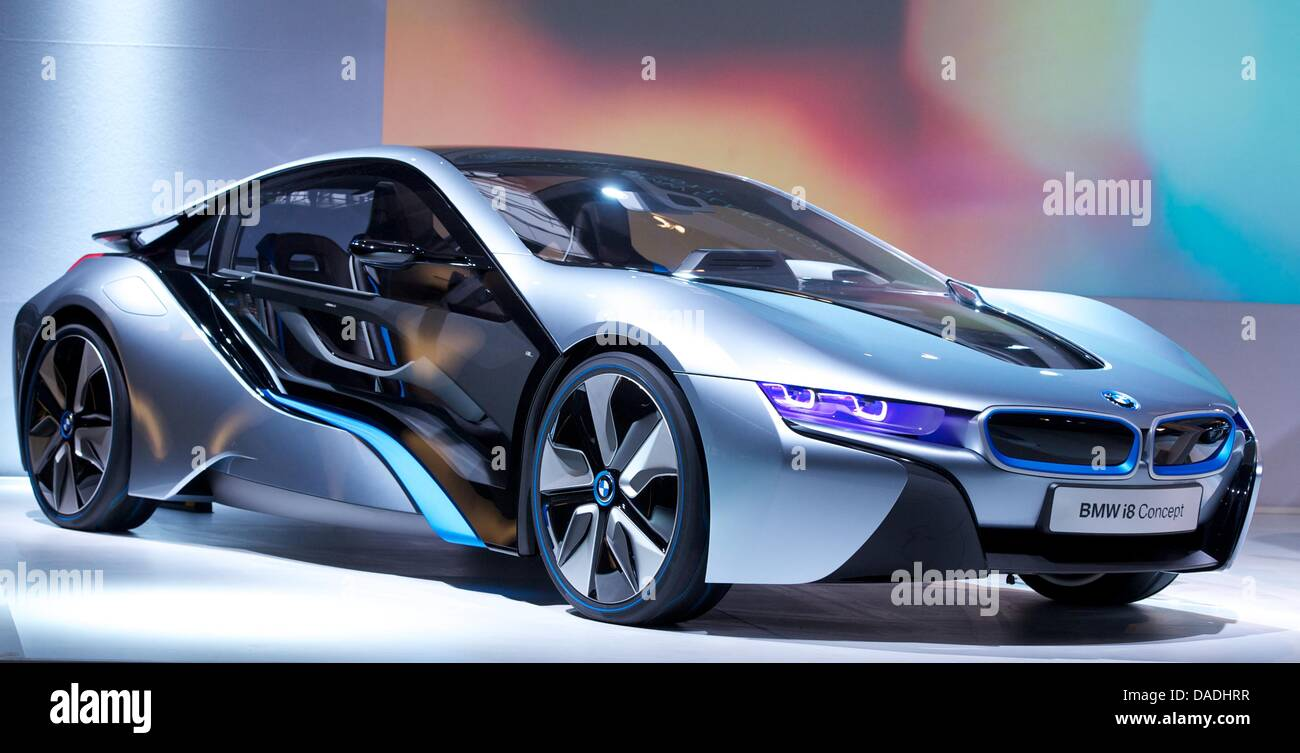 The Bmw I8 A Plug In Hybrid Sports Car Sits On The Stage