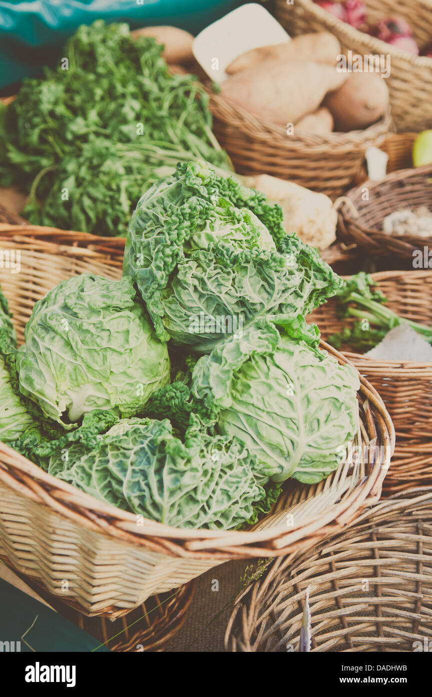 Fresh cabbage at the farmers market - Stock Image