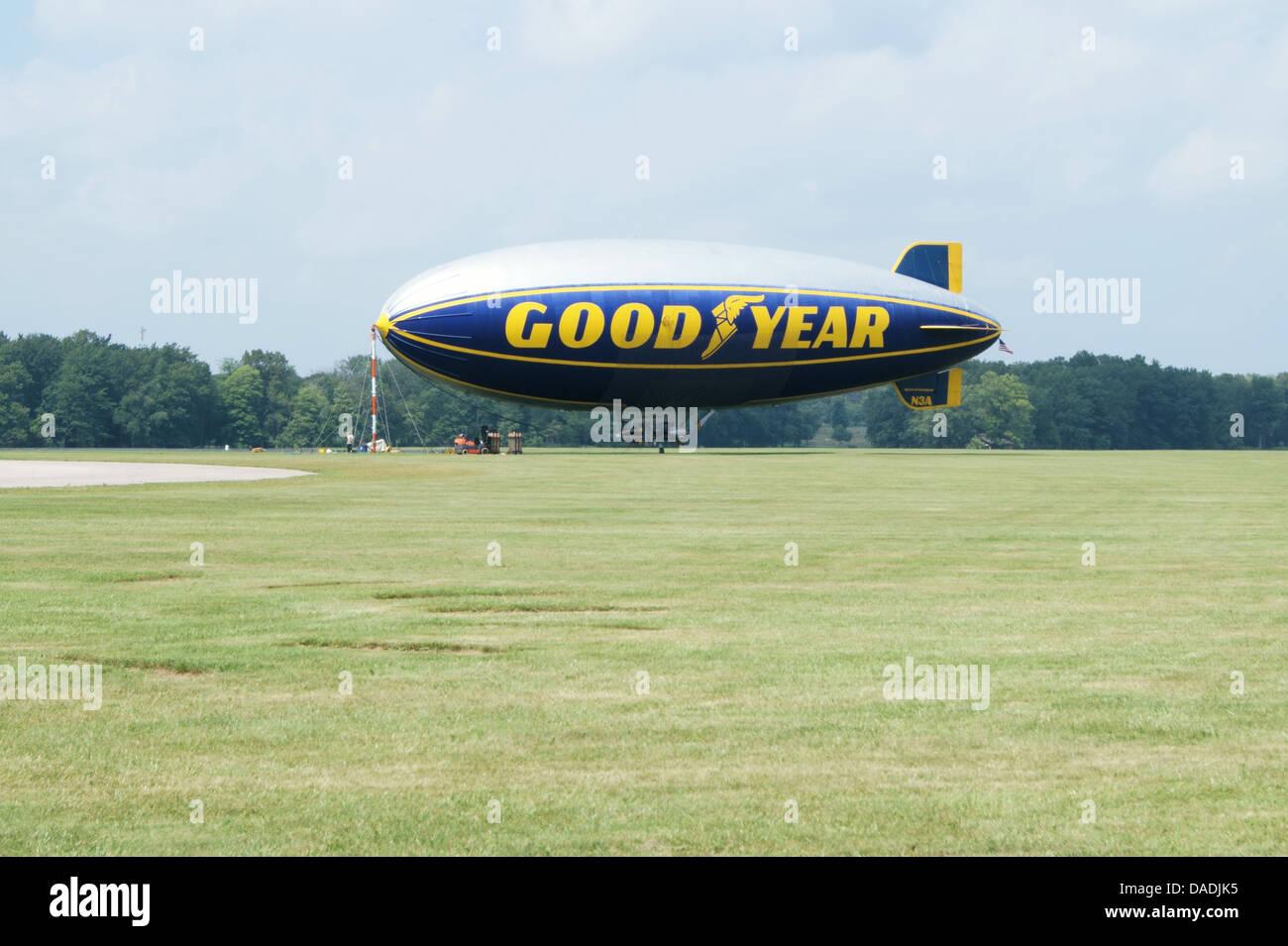 Goodyear Blimp in Akron, Ohio, USA. - Stock Image