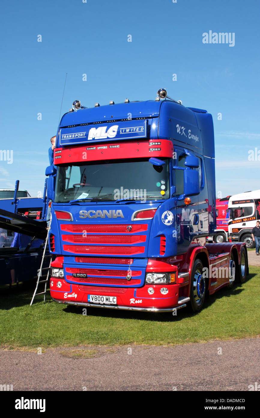 Scania R550 V8 V800 MLC on display at the 2013 TruckFest Peterborough Cambridgeshire UK - Stock Image