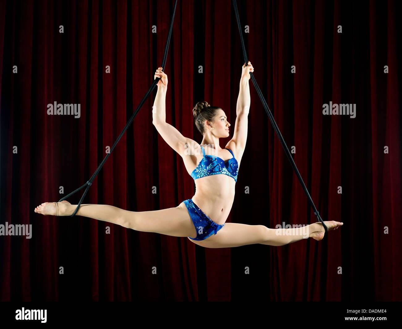Studio shot of female aerialist performing splits on ropes - Stock Image