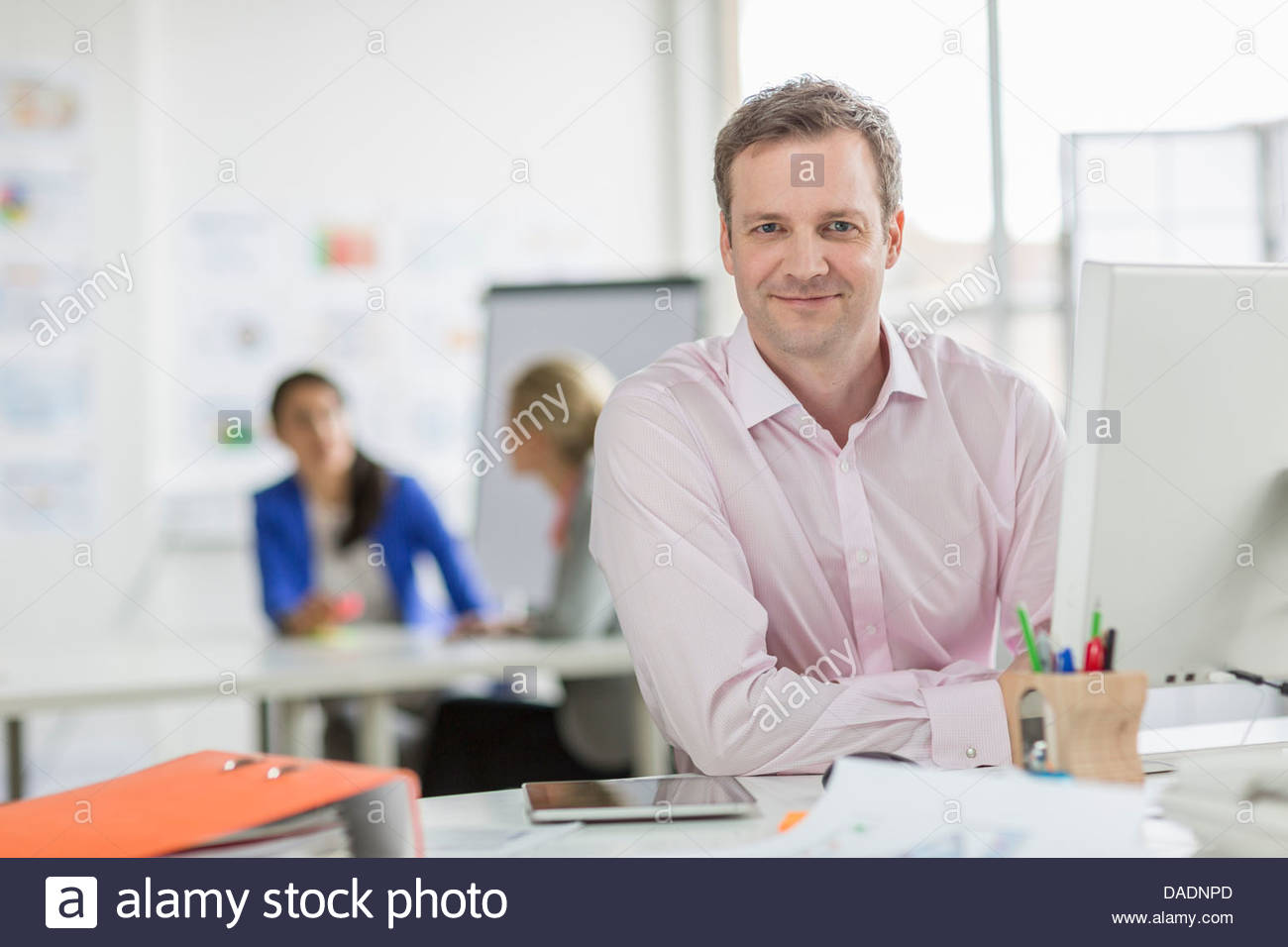 Mature businessman working at desk in office, portrait - Stock Image