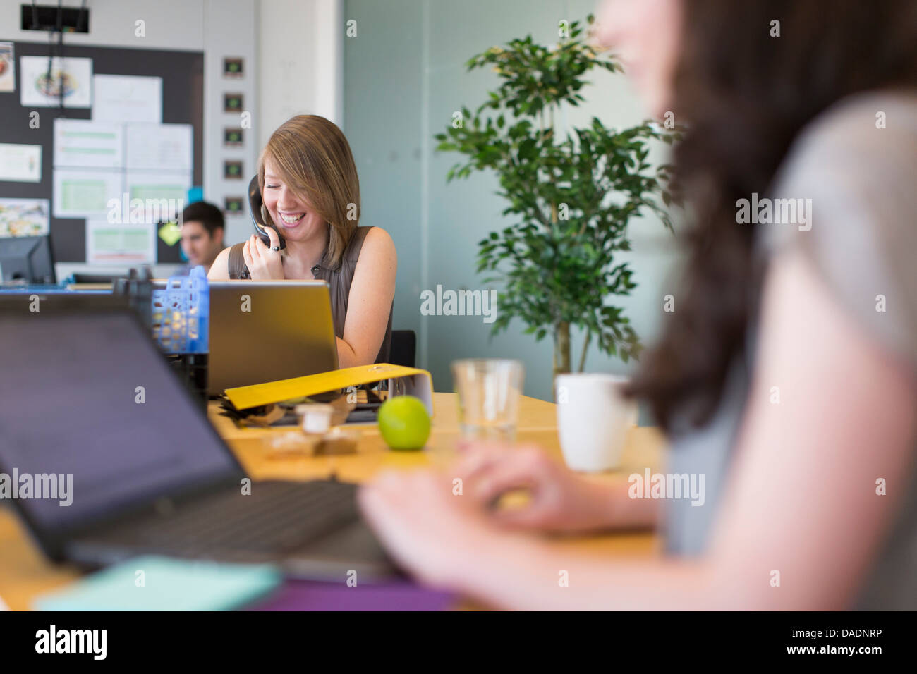 Young woman using telephone in busy creative office - Stock Image